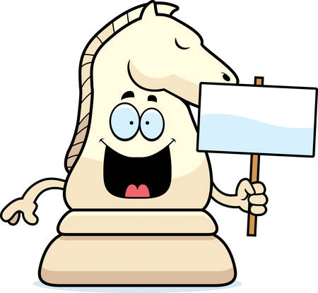A cartoon illustration of a knight chess piece holding a sign.