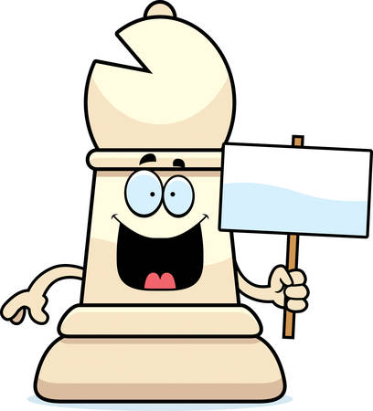 A cartoon illustration of a bishop chess piece holding a sign. Ilustrace