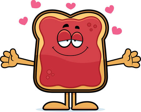 A cartoon illustration of a toast with jam ready to give a hug.