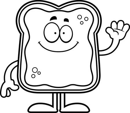 A cartoon illustration of a toast with jam waving.