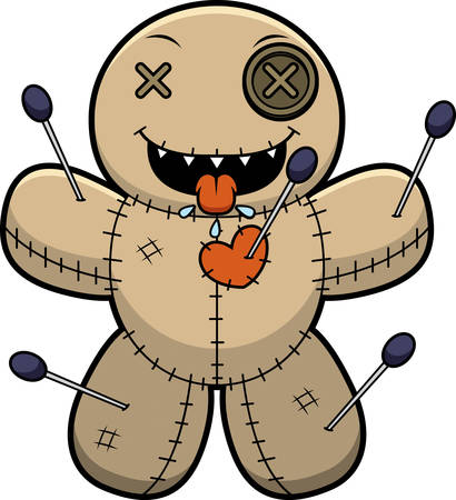 drooling: A cartoon illustration of a voodoo doll looking hungry.