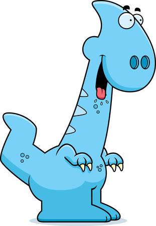 A cartoon illustration of a Parasaurolophus dinosaur looking hungry.
