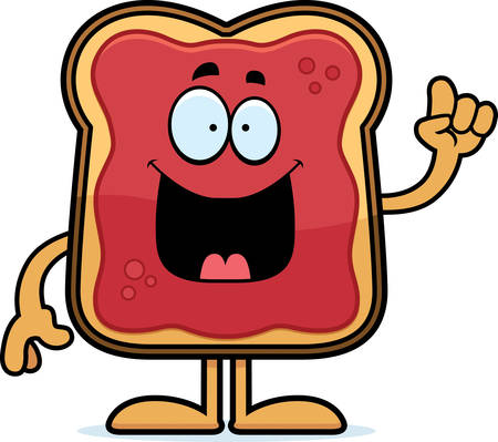 A cartoon illustration of a toast with jam with an idea. Çizim
