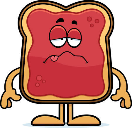 A cartoon illustration of a toast with jam looking sick.