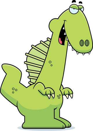 sly: A cartoon illustration of a Spinosaurus dinosaur with a sly expression.