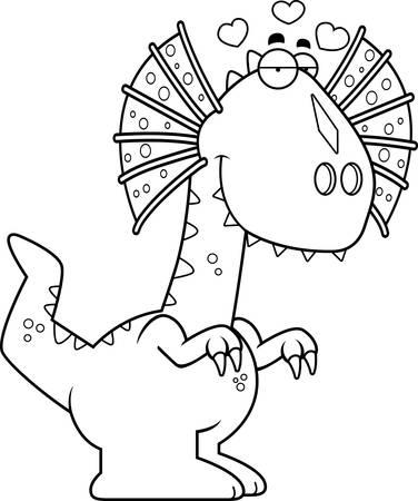 infatuated: A cartoon illustration of a Dilophosaurus dinosaur in love.