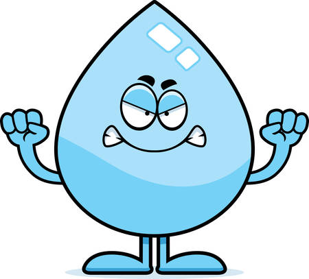 A cartoon illustration of a water drop looking angry. Vettoriali
