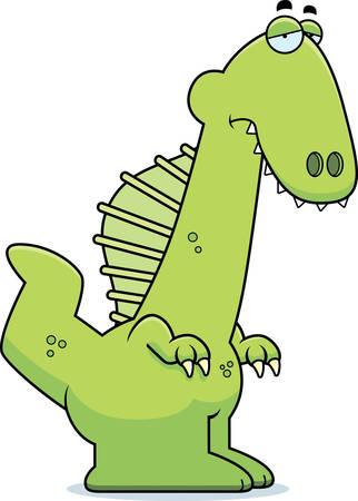 scowl: A cartoon illustration of a Spinosaurus dinosaur looking sad. Illustration
