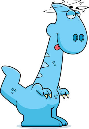 drunk cartoon: A cartoon illustration of a Parasaurolophus dinosaur looking drunk.