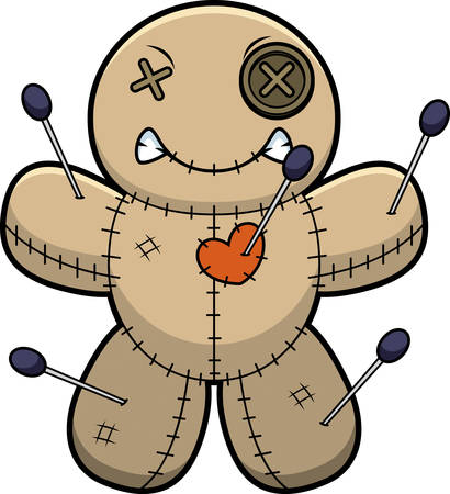 A cartoon illustration of a voodoo doll looking angry.