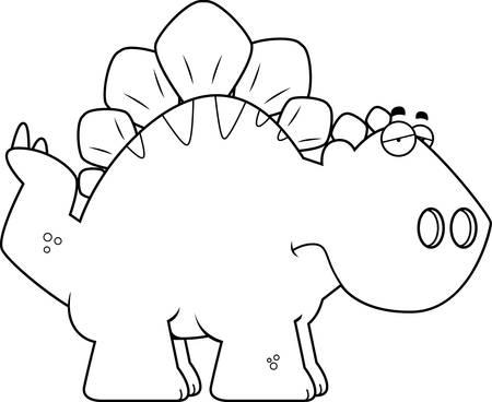 stegosaurus: Un ejemplo de la historieta de un dinosaurio Stegosaurus con cara de tristeza.