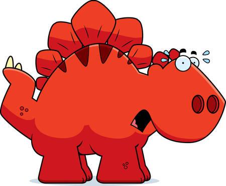 stegosaurus: Un ejemplo de la historieta de un dinosaurio Stegosaurus mirando asustado.