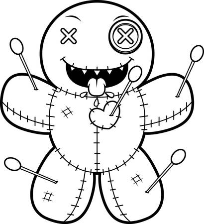 A cartoon illustration of a voodoo doll looking hungry.