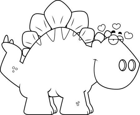 infatuated: A cartoon illustration of a Stegosaurus dinosaur in love.