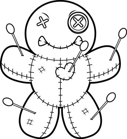 voodoo doll: A cartoon illustration of a voodoo doll looking angry.