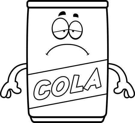 A cartoon illustration of a can of cola looking sad.