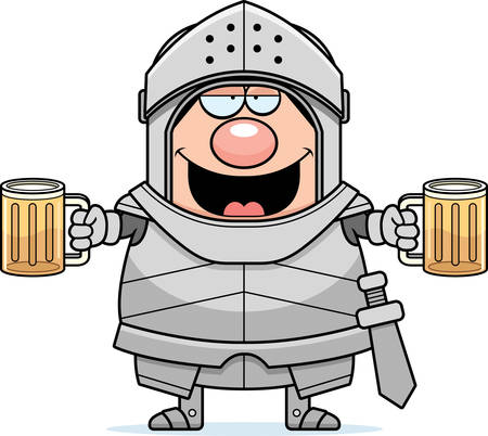 intoxicated: A cartoon illustration of a knight looking drunk.