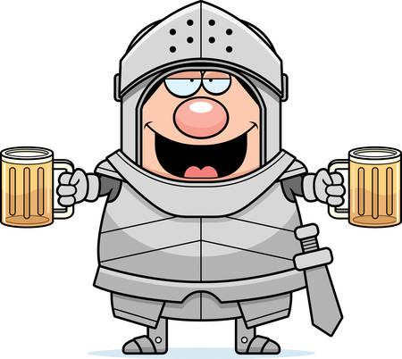 cartoon warrior: A cartoon illustration of a knight looking drunk.