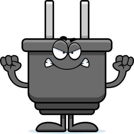electrical plug: A cartoon illustration of an electrical plug looking angry. Illustration