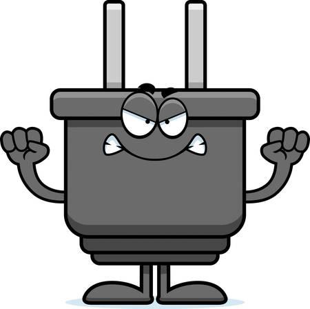 Een cartoon illustratie van een elektrische plug op zoek boos. Stock Illustratie
