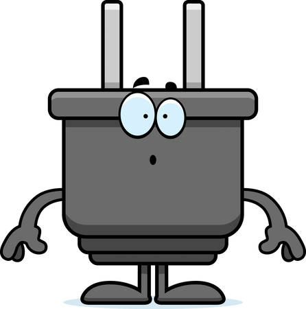 electrical plug: A cartoon illustration of an electrical plug looking surprised. Illustration