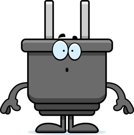 Een cartoon illustratie van een elektrische stekker op zoek verrast. Stock Illustratie