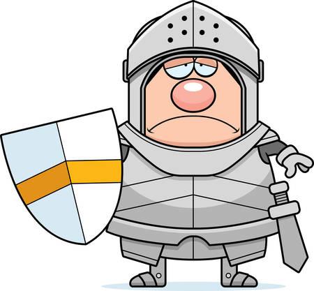 A cartoon illustration of a knight looking sad.