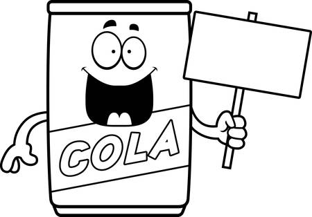 A cartoon illustration of a can of cola holding a sign.