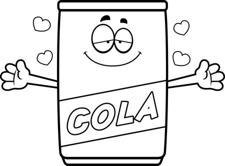 carbonated: A cartoon illustration of a can of cola ready to give a hug.