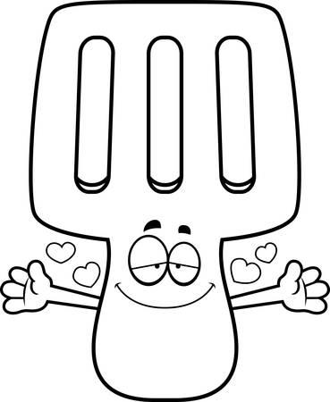 A cartoon illustration of a spatula ready to give a hug. Ilustrace