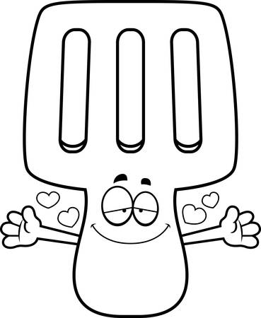 A cartoon illustration of a spatula ready to give a hug. Illustration