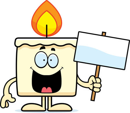 A cartoon illustration of a candle holding a sign. Banco de Imagens - 42988140