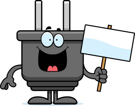 A cartoon illustration of an electrical plug holding a sign.