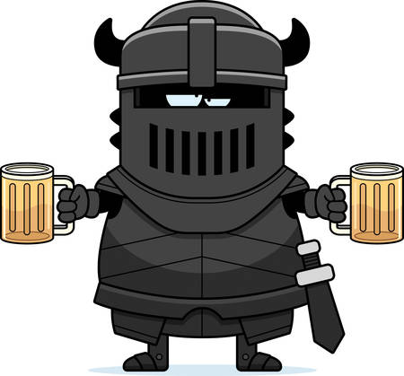 cartoon knight: A cartoon illustration of the black knight looking drunk.