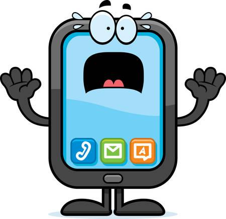 A cartoon illustration of a smartphone looking scared. Ilustração
