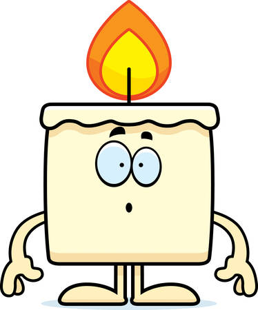 A cartoon illustration of a candle looking surprised. Иллюстрация