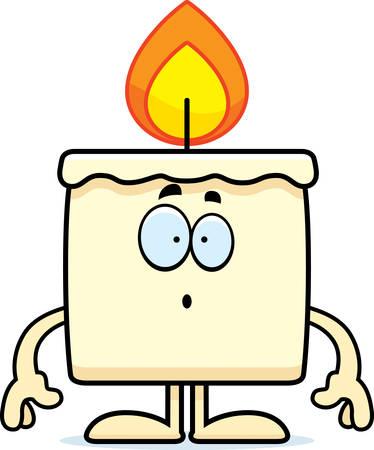 A cartoon illustration of a candle looking surprised. Ilustração