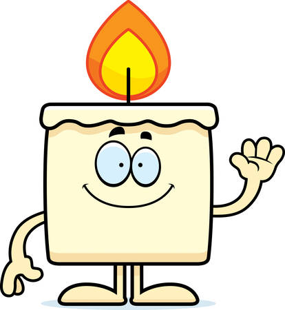 A cartoon illustration of a candle waving.
