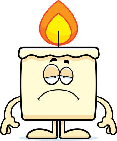 A cartoon illustration of a candle looking sad.