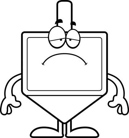 A cartoon illustration of a dreidel looking sad. Çizim