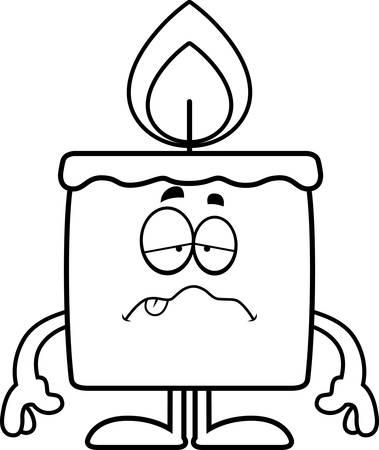 A cartoon illustration of a candle looking sick. Ilustração