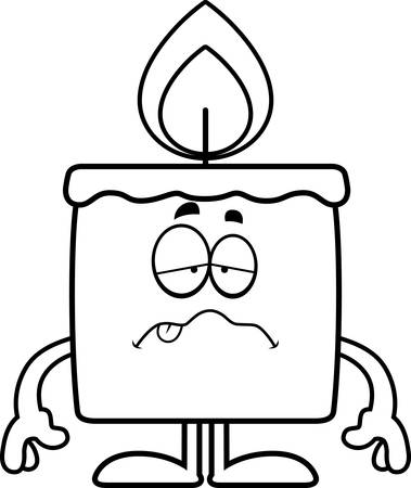 nauseous: A cartoon illustration of a candle looking sick. Illustration