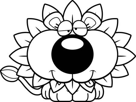 goofy: A cartoon illustration of a dandelion lion with a goofy expression.