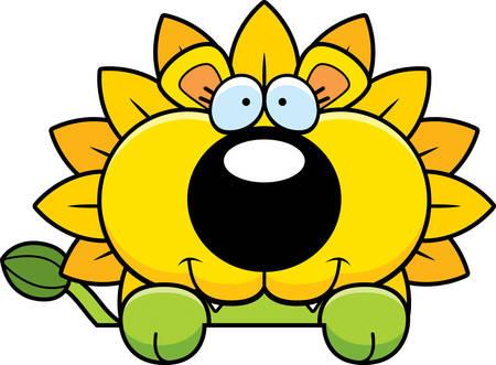 peering: A cartoon illustration of a dandelion lion peeking over an object. Illustration