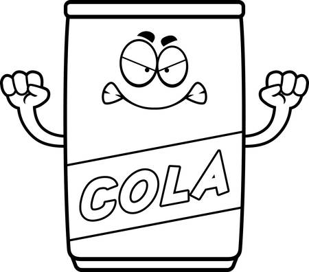 A cartoon illustration of a can of cola looking angry.