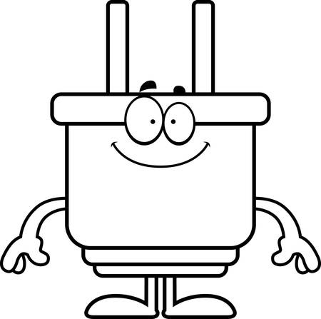A cartoon illustration of an electrical plug looking happy.