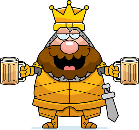 A cartoon illustration of a king in armor looking drunk. Ilustrace