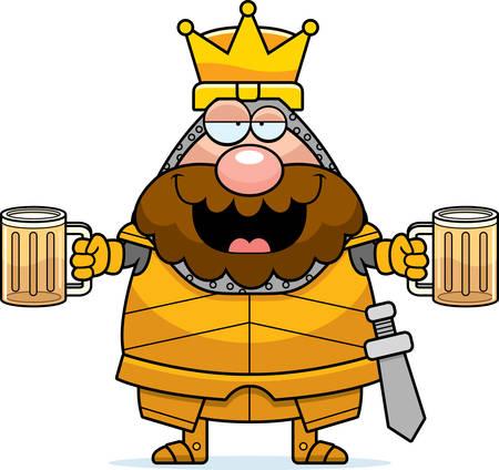 Een cartoon afbeelding van een koning in harnas op zoek dronken.