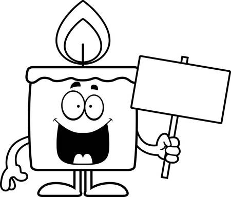 A cartoon illustration of a candle holding a sign.