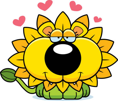 A cartoon illustration of a dandelion lion in love.